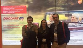 Los Drs. G Garmendia y J Iriarte con Inma Mateu de GSK