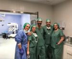 El equipo quirúrgico: Amaia, Dra. I Crespo, Dr. A. Gómez, Dr. J Estébanez, Arantxa