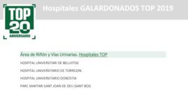 Hospitales TOP20. Hospitales galardonados en el Área de Riñón y Vías Urinarias